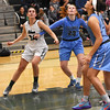 STAN HUDY - SHUDY@DIGITALFIRSTMEDIA.COM<br /> Columbia's Grece Heeps (23) Selena Lott (24) and Shenendehowa's Claire Drum (24) look up for a rebound under the basket Friday, Jan. 20, 2017 during their Suburban Council game at Shenendehowa High School.
