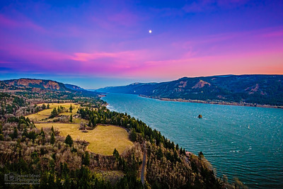 """Columbia Mystery,"" Sunset Moonrise over the Columbia River Gorge, Cape Horn, Columbia River Gorge National Scenic Area"
