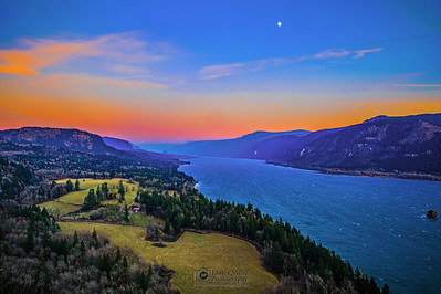 """New Years Wish,"" Sunset Moonrise over the Columbia River Gorge on New Years Day, Cape Horn, Columbia River Gorge National Scenic Area"