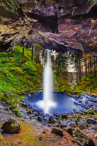 """Behind of the Fall,"" Ponytail Falls in the Autumn, Columbia River Gorge, Oregon"