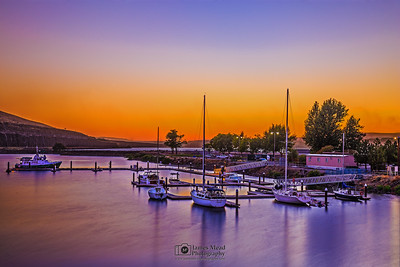 """Lavender Waters,"" Harbor on the Columbia River at Sunset, Columbia River Gorge, Oregon"