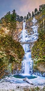 """Elsa's Tranquility,""Winter Sunset over Frozen Multnomah Falls, Columbia River Gorge, Oregon"