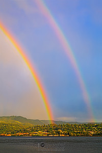 """Double Trouble,"" Double Rainbow over the Columbia River, Columbia River Gorge, Oregon"