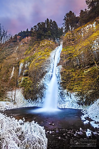 """Frozen Horsetail Sunset,"" Horsetail Falls, Columbia River Gorge, Oregon"