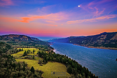 """Majesty of the Gorge,"" New Years Sunset Moonrise over the Columbia River Gorge, Cape Horn, Columbia River Gorge National Scenic Area"