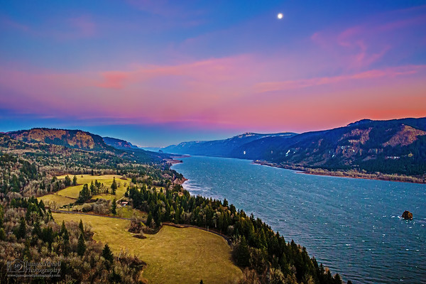 """""""A New Year Rises,"""" New Years Sunset and Moonrise over the Columbia River, Cape Horn, Columbia River Gorge National Scenic Area"""