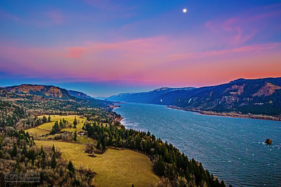 """A New Year Rises,"" New Years Sunset and Moonrise over the Columbia River, Cape Horn, Columbia River Gorge National Scenic Area"