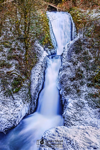"""Winter's Frost,"" Bridal Veil Falls in the Winter, Columbia River Gorge, Oregon"