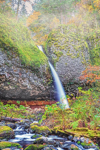"""""""Over the Edge,"""" Ponytail Falls in the Autumn, Columbia River Gorge, Oregon"""