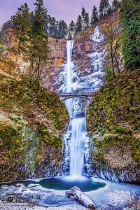 """Multnomah Falls Freeze,"" Multnomah Falls Deep Freeze at Sunset, Columbia River Gorge"