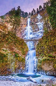 """Ice Queen,"" Multnomah Falls Winter Sunset, Columbia River Gorge, Oregon"