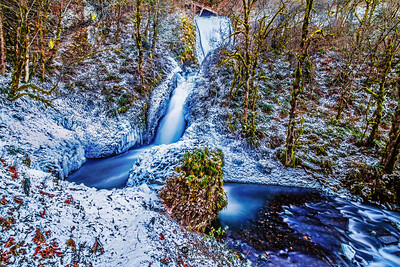 """Frozen Veil,"" Bridal Veil Falls, Columbia River Gorge, Oregon"