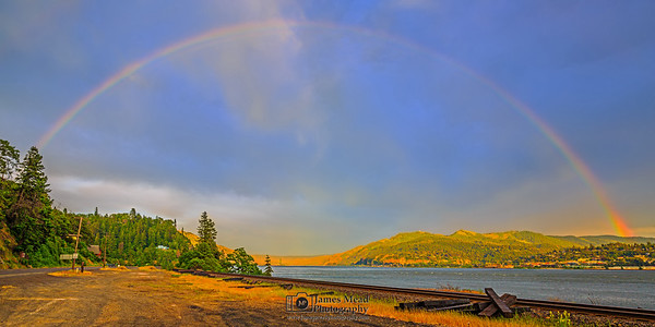 """Pot of Gold,"" Rainbow over the Columbia River, Columbia River Gorge, Oregon"