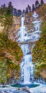 """Frozen Harmony,"" Winter Sunset over Frozen Multnomah Falls, Columbia River Gorge, Oregon"