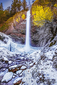 """Frozen Wonderland,"" Frozen and snow covered Latourell Falls, Columbia River Gorge, Oregon"