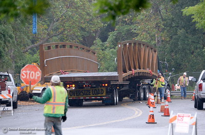 Traffic on Meyers St. is controlled while City of Chico construction crews install a footbridge over Comanche Creek Friday May 6, 2016. (Bill Husa -- Enterprise-Record)