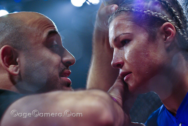 Felice Herrig gets some advice from her cornerman during a bout with Iman Achhal.