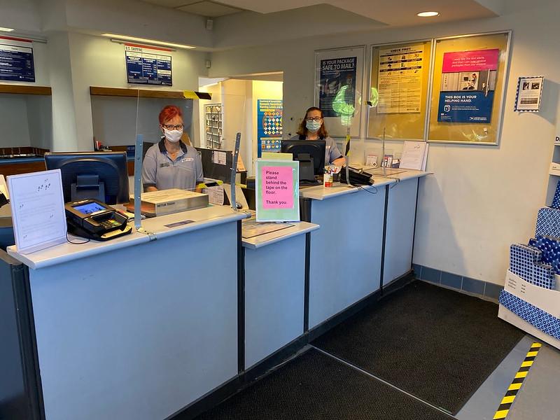 Billerica Post Office window clerks Lynn Balmforth and Mary Meharg