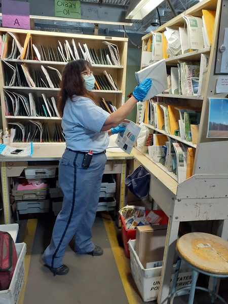 Chelmsford carrier Mary Tournas sorts the mail as she sets up her route.