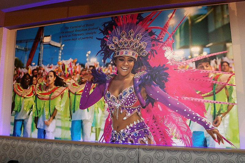 Comeketo Brazilian Steakhouse in Leominster held a ribbon cutting on Friday afternoon to show off their newly renovated restaurant. This pictures of the Carnival of Brazil is one of the many pictures from Brazil that now hang on the wall of the newly renovated restaurant. SENTINEL & ENTERPRISE/JOHN LOVE