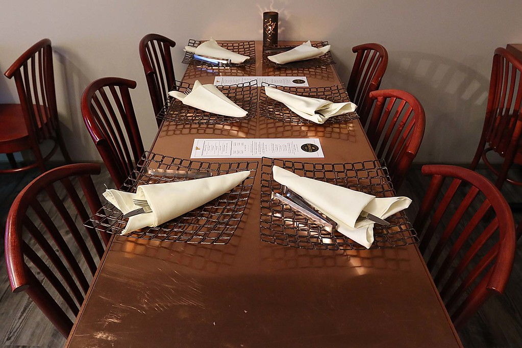 . Comeketo Brazilian Steakhouse in Leominster held a ribbon cutting on Friday afternoon to show off their newly renovated restaurant. One of the new tables at the newly renovated restaurant. SENTINEL & ENTERPRISE/JOHN LOVE