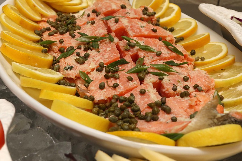 Comeketo Brazilian Steakhouse in Leominster held a ribbon cutting on Friday afternoon to show off their newly renovated restaurant. This salmon with alcaparras was being served up at their salad bar. SENTINEL & ENTERPRISE/JOHN LOVE