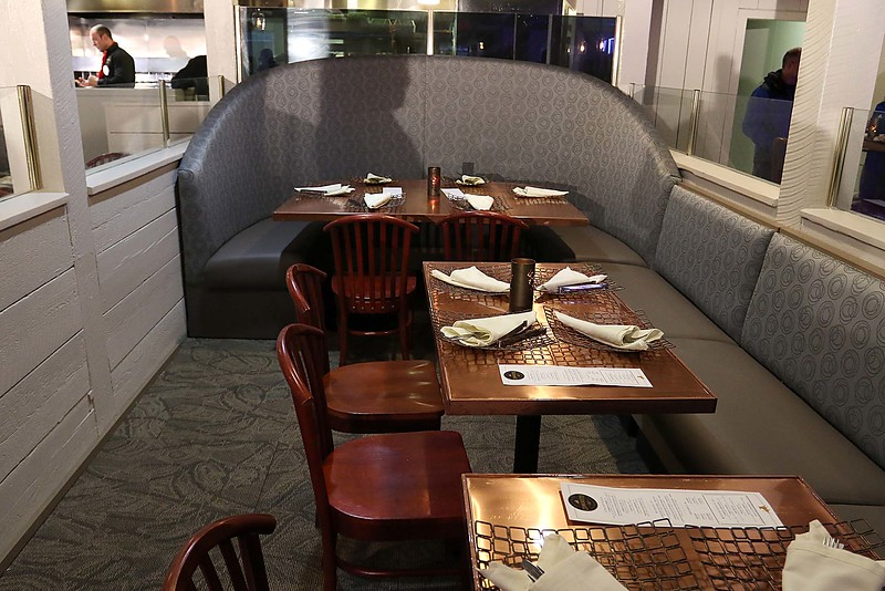 Comeketo Brazilian Steakhouse in Leominster held a ribbon cutting on Friday afternoon to show off their newly renovated restaurant. One of the new booths at the newly renovated restaurant. SENTINEL & ENTERPRISE/JOHN LOVE