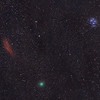 Comet 46P(Wirtanen) with Pleiades (M45) and the California Nebula (NGC 1499)