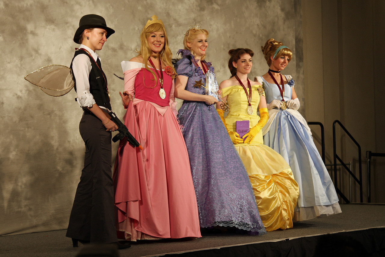 The Godmother  and the Disney Princesses<br /> <br /> Most Humorous<br /> <br /> Worn By: M. Alice LeGrow, Krys Lewis, Morgan Ditta, Jenny Newman and Katrina Andrews.<br /> Designed and Made By: M. Alice LeGrow, Krys Lewis, Morgan Ditta, Jenny Newman and Katrina Andrews.