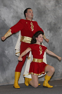 Pre-show cosplay display - The first wonder twins, Captain and Mary Marvel
