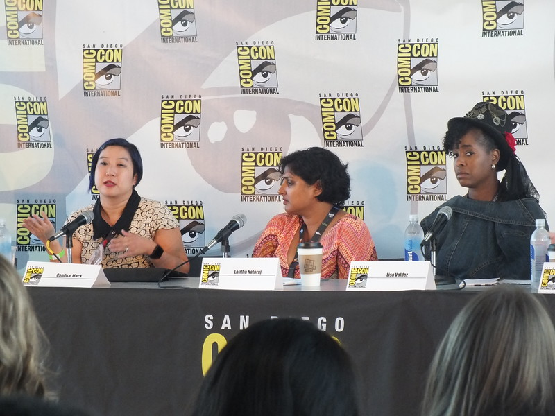 Candice Mack (left), APALA member and past president of the American Library Assoc. (ALA) Young Adult Library Services Association (YALSA) spoke on a panel addressing diversity in comics and popular media.