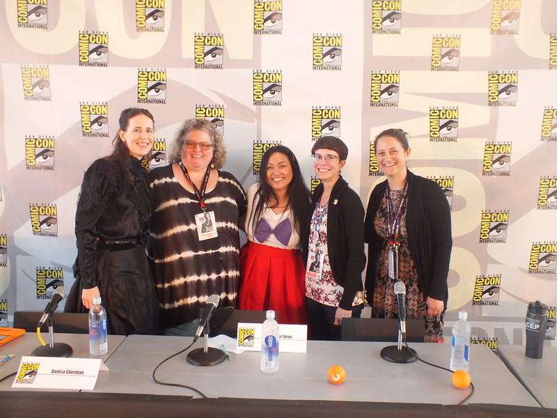 "At the SDCC ""Comic Conference for Educators and Librarians"" Filipino American Librarian Jennifer Siron (center) discussed her role using comic books, graphic novels, and manga to help FilAm students enjoy reading and learning with visual literacy."