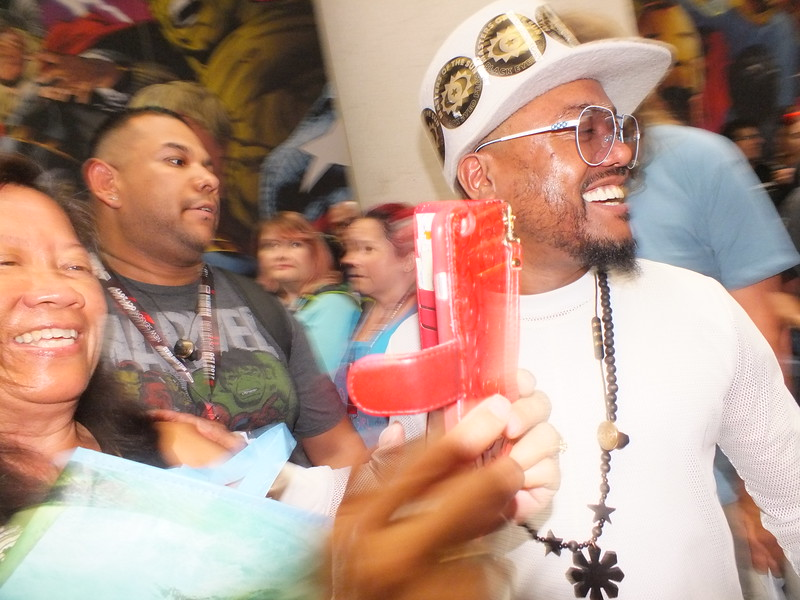 """A selfie is caught by Rose Ibanez with APL of the Black Eyed Peas during their promotion of their new Marvel venture """"Masters of the Sun"""" at the  recent  San Diego Comic Con (SDCC)"""