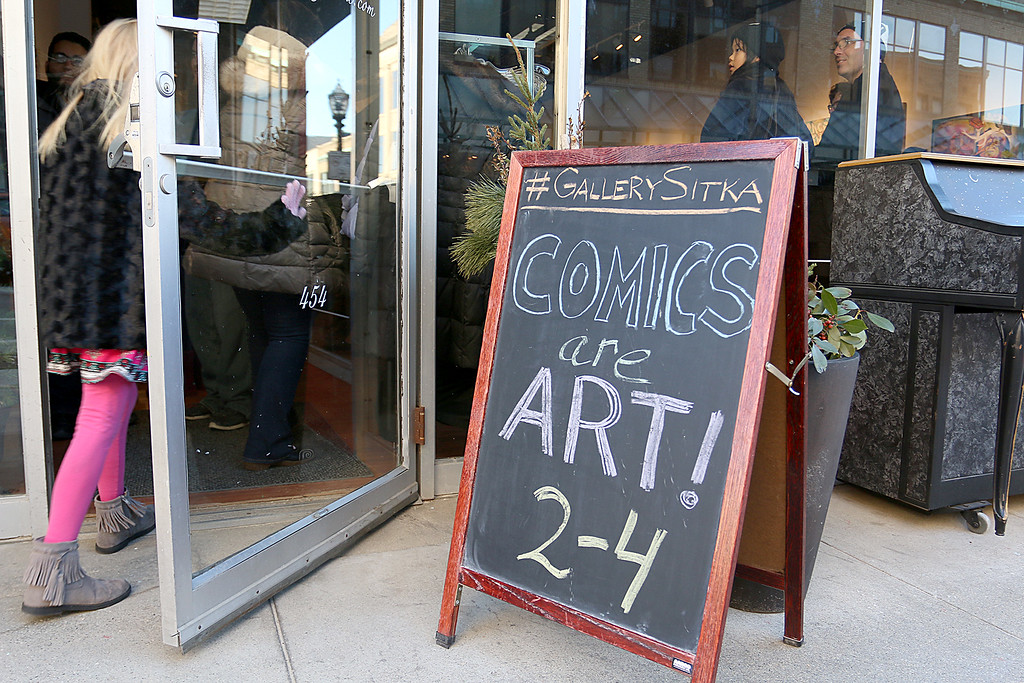 ". Gallery Sitka in Fitchburg held a ""Comics Are Art\"" show on Saturday. SENTINEL & ENTERPRISE/JOHN LOVE"