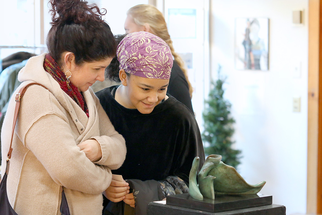 ". Gallery Sitka in Fitchburg held a ""Comics Are Art\"" show on Saturday. Sarah Fleurimon with her daughter Annie Fleurimon, 12, take a look at a Bronze piece called \""Bird of Paradise\"" by Melanie Zibit. SENTINEL & ENTERPRISE/JOHN LOVE"