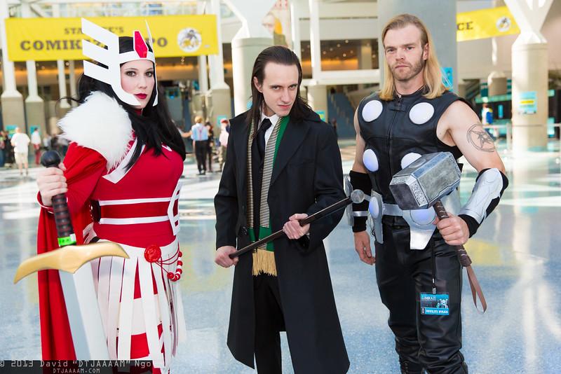 Sif, Loki, and Thor