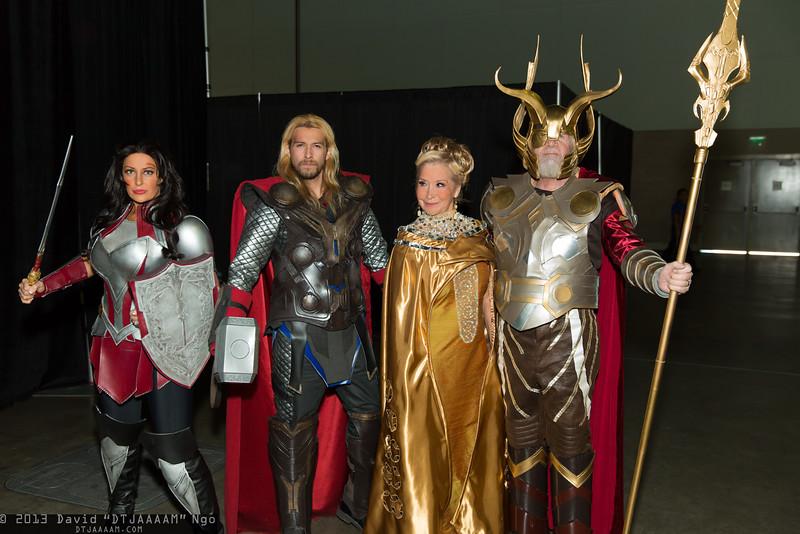 Sif, Thor, Freya, and Odin