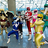 Goldar, Blue Ranger, Black Ranger, Red Ranger, Pink Ranger, Yellow Ranger, and Green Ranger
