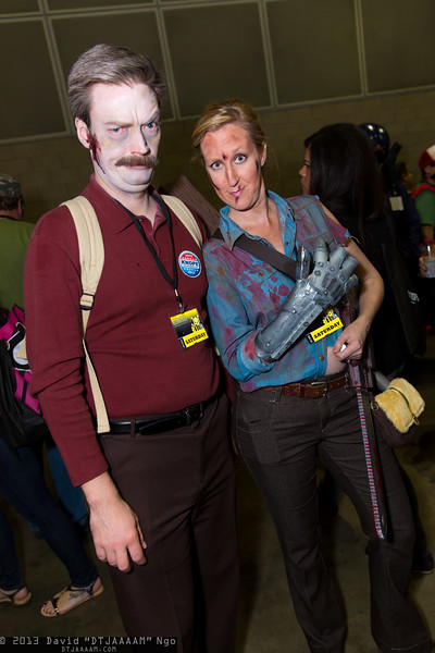 Zombie Ron Swanson and Ash Williams