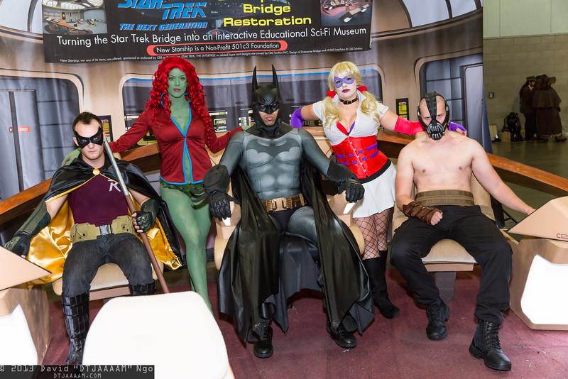 Robin, Poison Ivy, Batman, Harley Quinn, and Bane