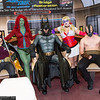 Robin, Poison Ivy, Batman, Harley Quinn, and Bane
