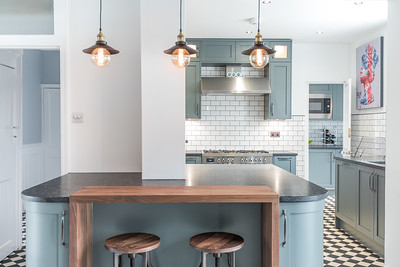 Kitchen photographed for bespoke kitchen company.