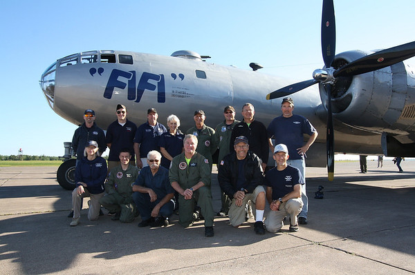 """Members of the CAF Minnesota Wing with the CAF's B-29 Superfortress """"Fifi"""".  Photo by Jeremy Dando"""