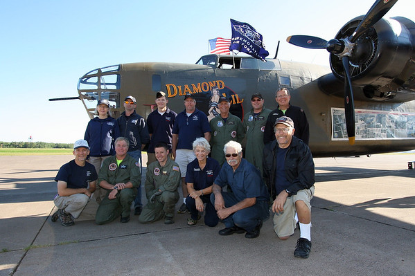 "Members of the CAF Minnesota Wing in front of the CAF's B-24 ""Diamond Lil"" at Duluth.  Photo by Jeremy Dando"