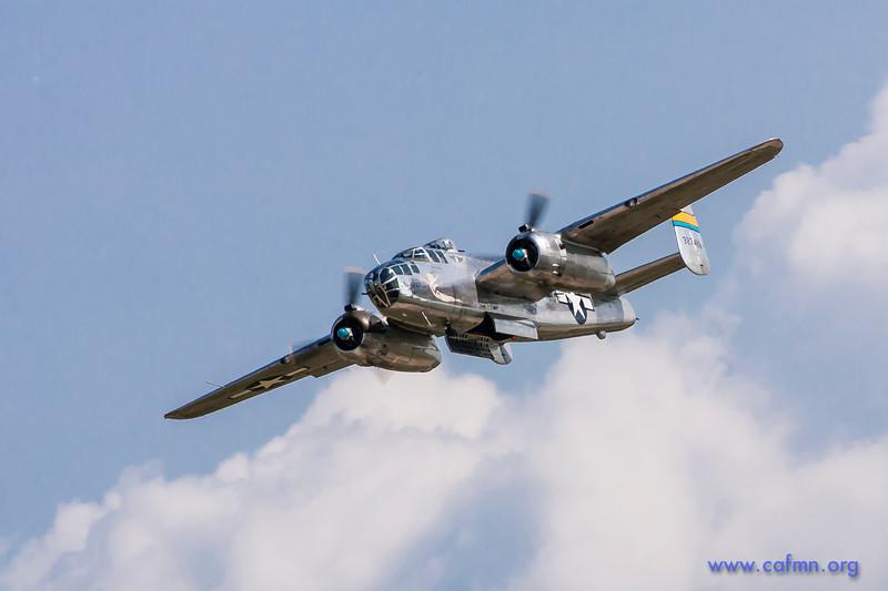 "B-25 ""Miss Mitchell"" making a simulated bomb run at Oshkosh."