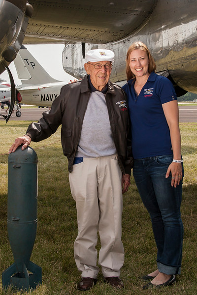 Doolittle Raider pilot Col Dick Cole with CAF MN Wing Leader Amy Lauria and B-25 Miss Mitchell.