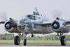 """The Minnesota Wing's beautifully maintained B-25 """"Miss Mitchell"""" taxis to parking after a flight at the Bemidji Airport (July 3)."""