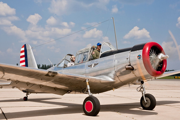 CAF pilot Shawn Hokuf taxis the CAF's BT-13 after a flight at the Bemidji Airport (July 3).