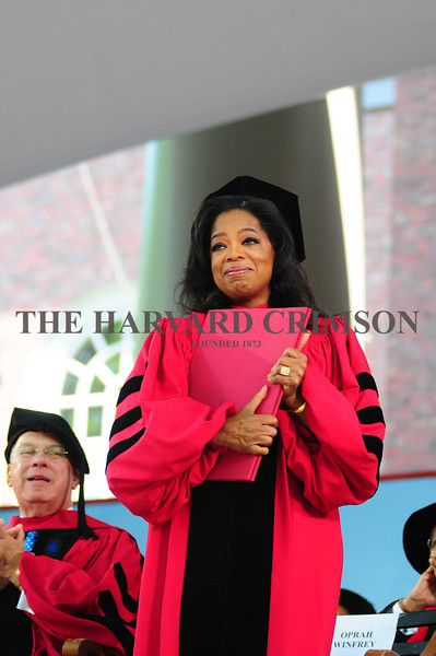 Media executive and philanthropist Oprah Winfrey receives an honorary Doctor of Laws degree during commencement morning exercises on Thursday.