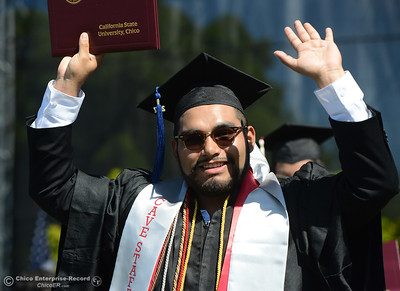 Sergio Cruz Rodriguez celebrates earning his diploma during the Chico State commencement ceremony Sunday, May 21, 2017, at University Stadium in Chico, California.  (Dan Reidel -- Enterprise-Record)